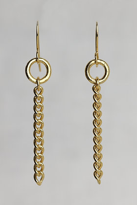 18K gold plated pure silver, sterling silver solid chain link earrings