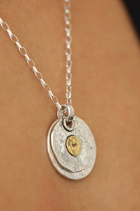 Hammered organic, pure silver 22k spot double disk pendant