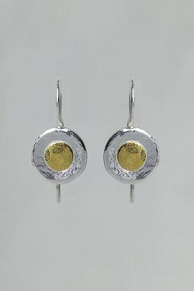 Petite pure silver, 22K gold spot earrings