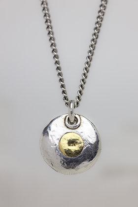 Pure silver, 22K gold spot chunky pendant