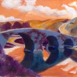 Stone bridge, old country, at dusk