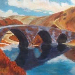Stone bridge, old country, autumn