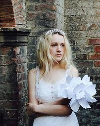 blonde bride artist bouquet tiara white dress hampstead heath pergola