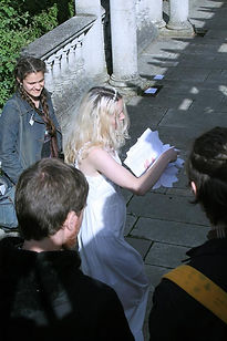 blonde bride white dress interactive art performance narrative hampstead heath pergola
