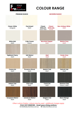 Colours available for DIY Flatpacks