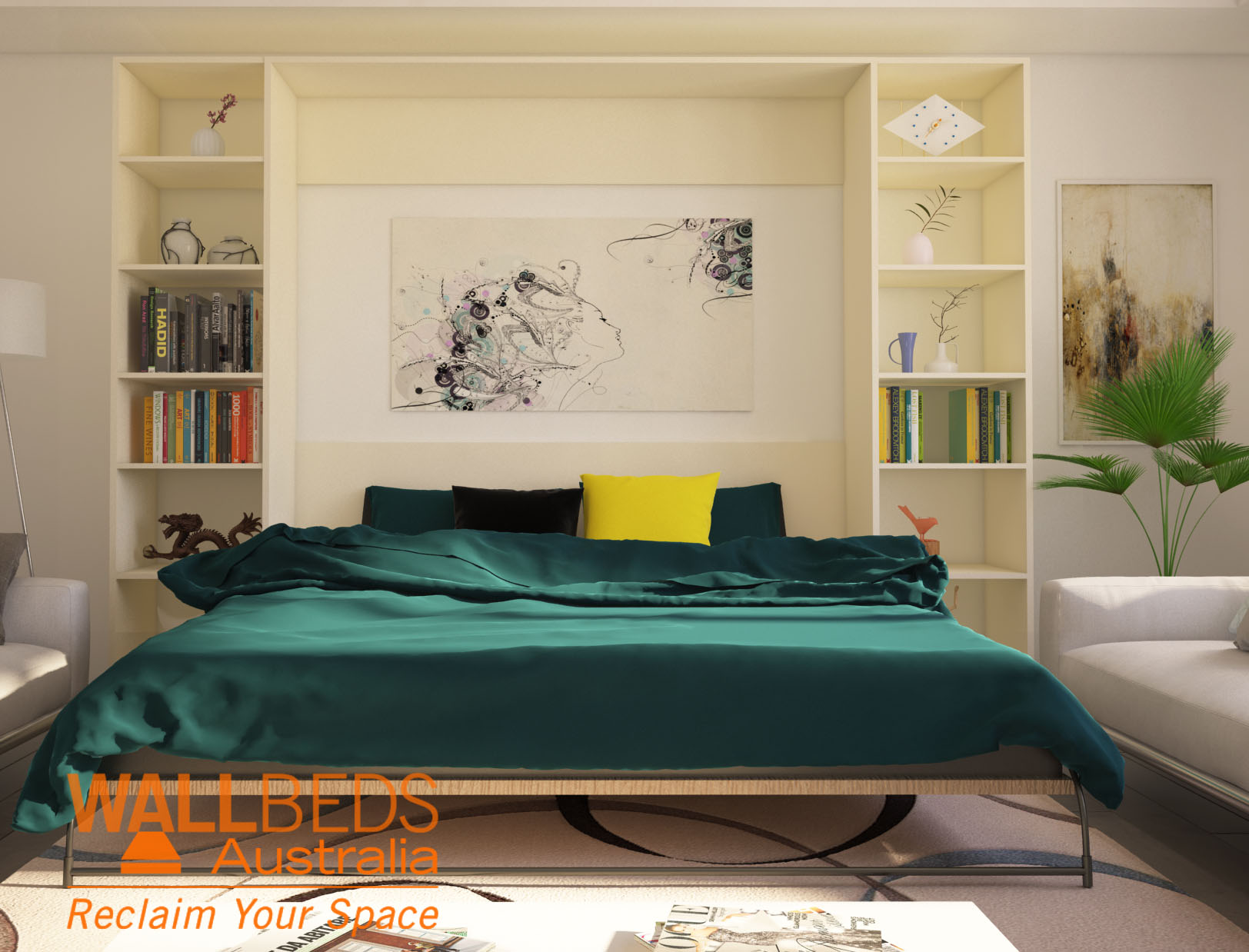 Alpha bed with bookcases open