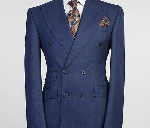 Casual Navy Wide Line Blue Plaid Suit 2 Piece