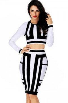 Black & Withe skirt set