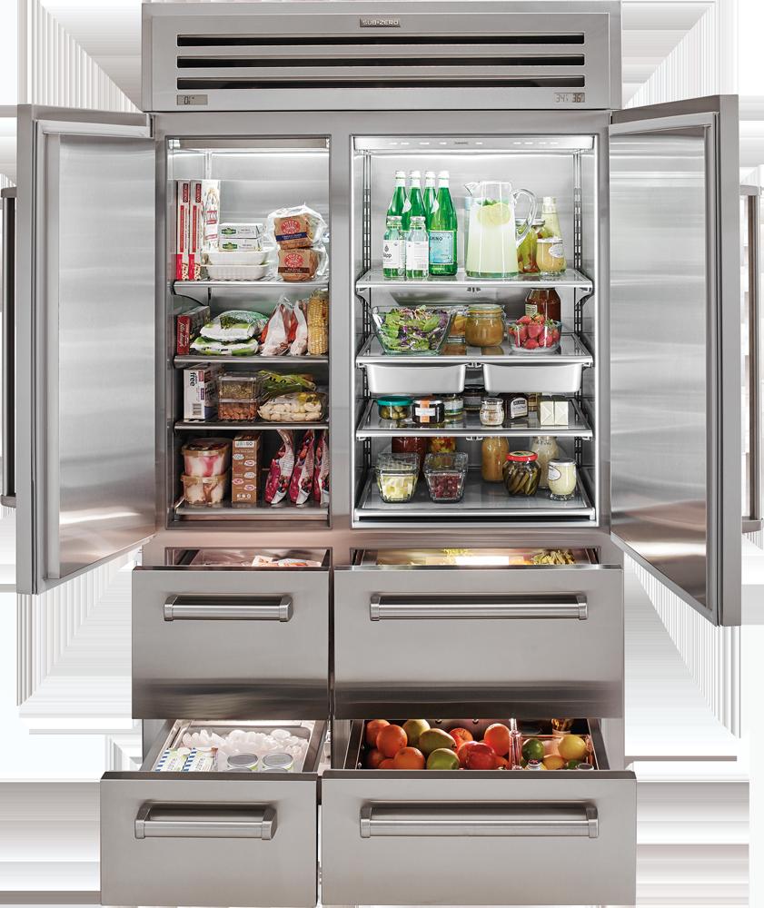 Interior of a sub-zero refrigerator
