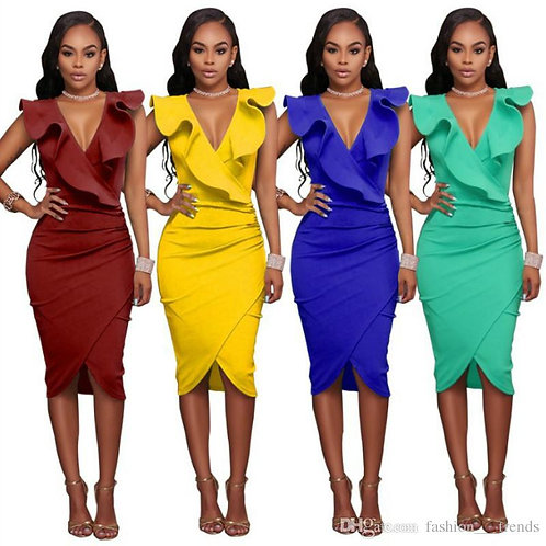 ZANZEA Women Sexy Ladies Bodycon Dress V Neck