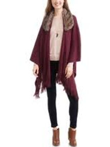 Faded Glory Ruana Wrap Faux Fur
