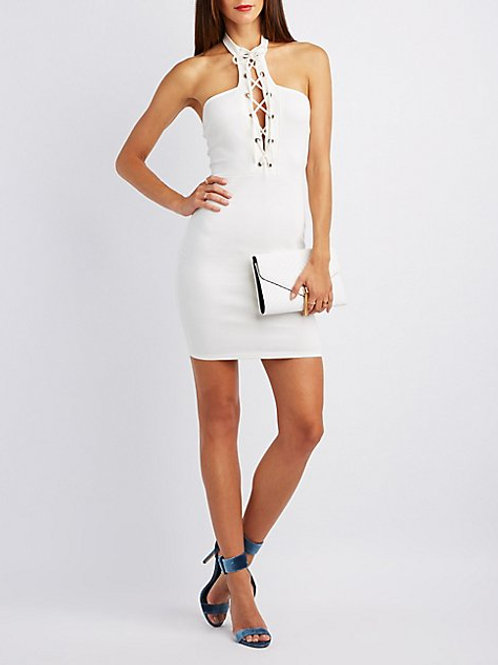 Lace-Up Choker Neck Bodycon Dress