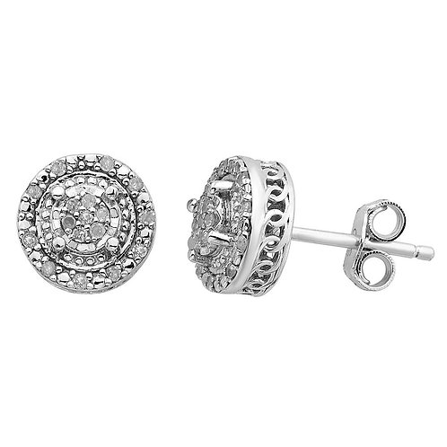 Sterling Silver 1/10 CT Round Diamond Earrings