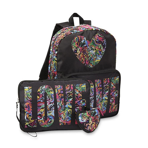 Confetti Love 3 Piece Girls Backpack Set - Large Backpack,Tablet Case & Pouch