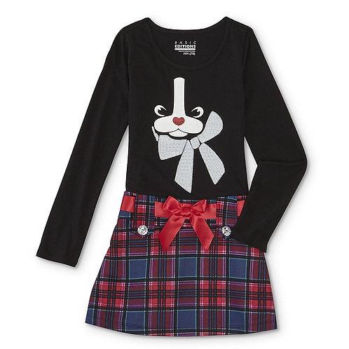 Basic Editions Girls' Drop Waist Dress - French Bulldog