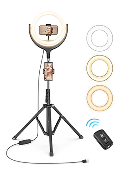 Tripod Ring Light with stand, 2 phone holders & Bluetooth Remote Shutter