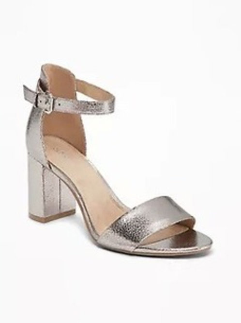 Old Navy Metallic Faux-Leather Block-Heel Sandals for Women