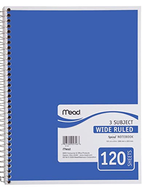 """Mead Spiral Notebook, 3 Subject, Wide Ruled Paper, 120 Sheets, 10-1/2"""" x 7-1/2"""""""