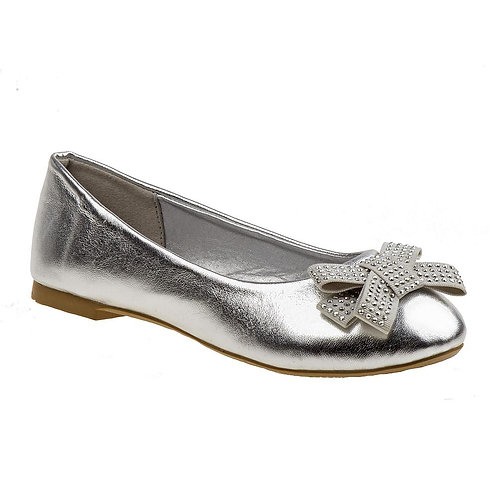 Laura Ashley Girls' Ballet Flat - Silver