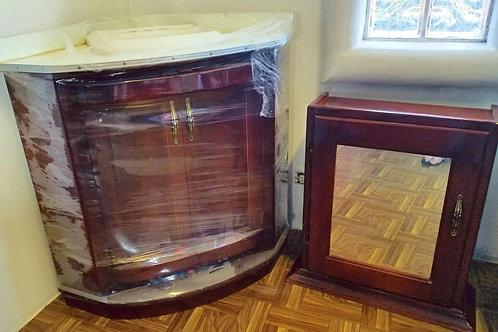 Hardwood Corner Sink with Medicine Cabinet