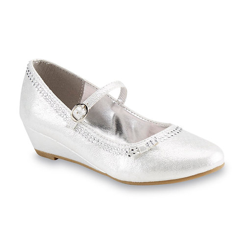 WonderKids Girl's Ivie Silver Mary Jane Shoe