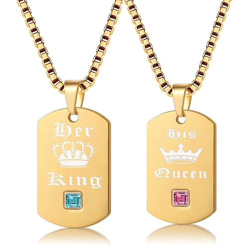 Her King and His Queen Necklaces & Pendants Titanium Couple Gold Color Necklace