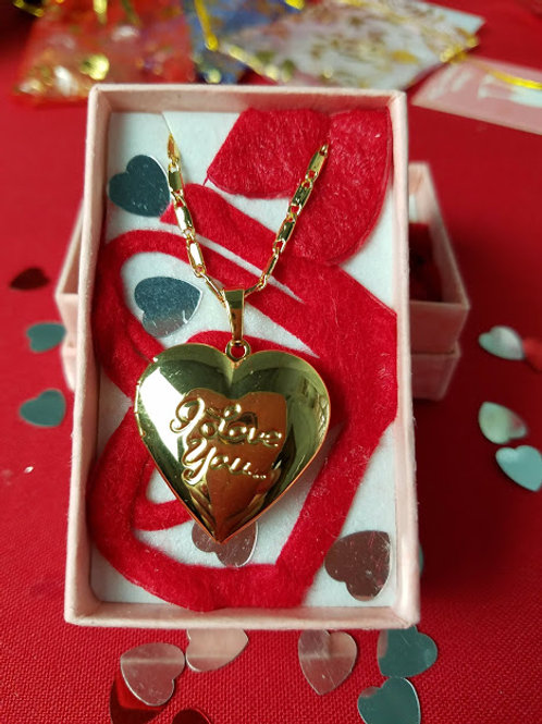 SS gold plated heart locket Valentine Chain