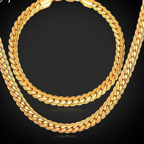 SS Gold Plated Snake Chain Necklace & Bracelet Set