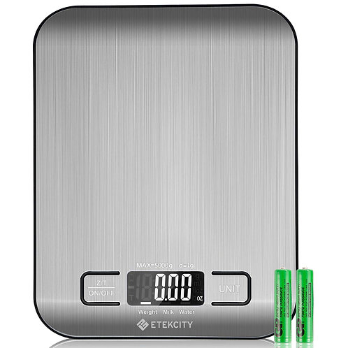 Etekcity Digital Kitchen Scale Multifunction Food Scale, 11lb/5kg, Silver