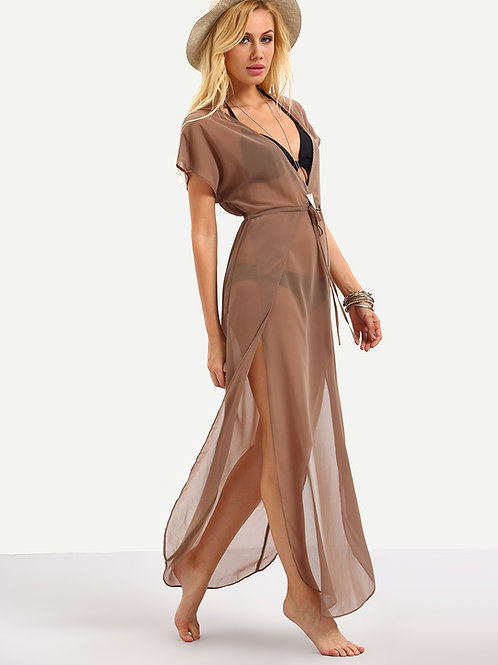 Tan Vneck Split Over Swimwear Dress