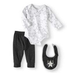 Bon Bebe Newborn Boy Bodysuit, Pants & Bib, 3pc