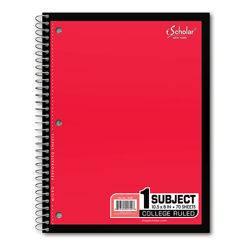 iScholar 1-Subject Wirebound Notebook, 70 Sheets, College Ruled, 10.5 x 8-Inches