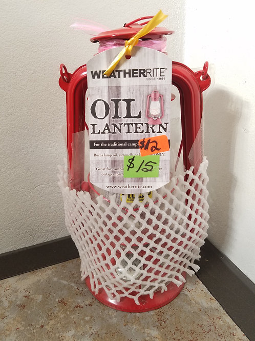 WeatherRite Outdoor Kerosene Lantern with Child Proof Fill Cap, Red