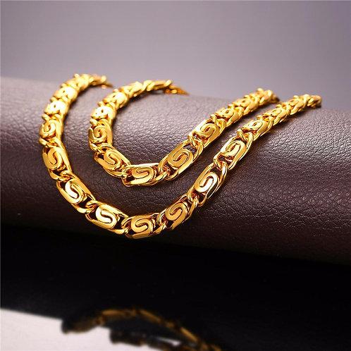 """Men's Vintage Snail Chain Necklace 22"""""""
