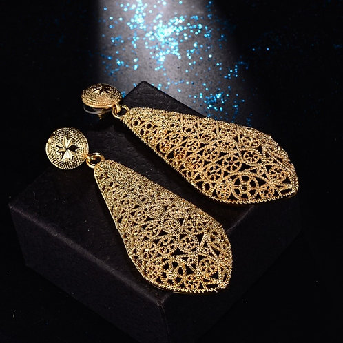 Fashion Dubai jewelry hollow Street Style Gold colour France Earrings For Women