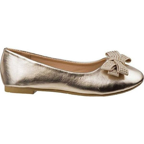 Laura Ashley Girls' Ballet Flat - Gold