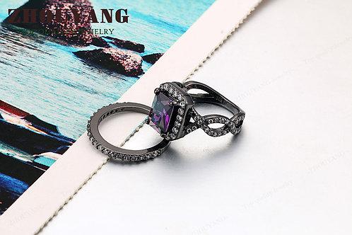 Purple Crystal Black gun Plated Rings
