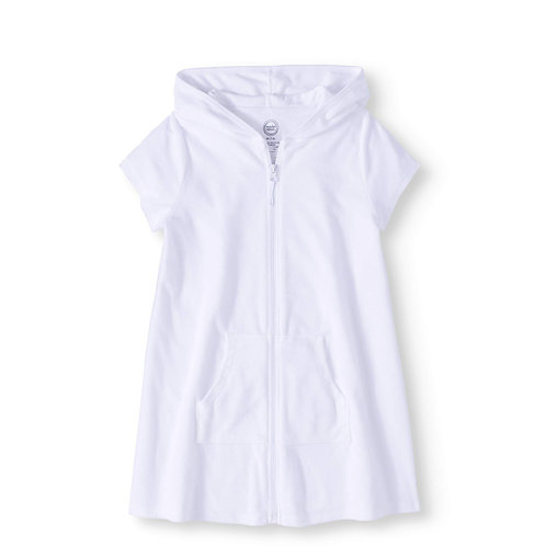 Girl's Zip Front Hooded Swim Cover Up