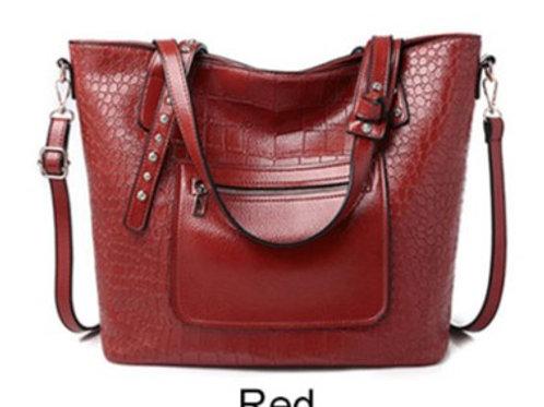 Acelure Red Large Khaki Alligator Handbag