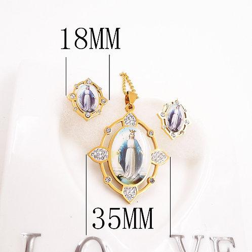 Virgin Mary Rhinestone Earrings Pendant Necklace