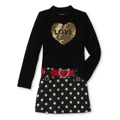 Basic Editions Girls' Drop Waist Dress - Love