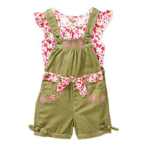 Nannette Little Girls' Knit Top and Twill Shortall