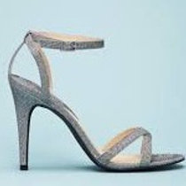 Forever21 Glittered Ankle-Strap Stiletto,Silver7.5