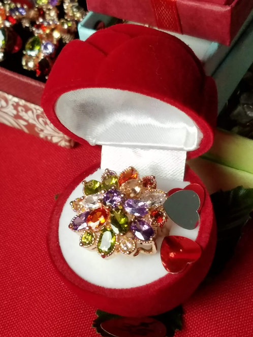 Stainless Steel Multi Color Ring with Rose Box