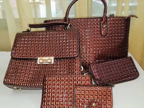TORBA 5 piece square brown bag set