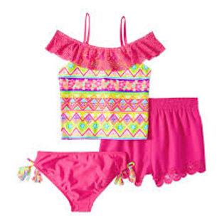 Girls' Ibiza Print 3 Piece Swim Set
