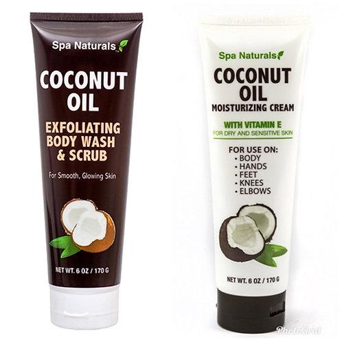 Spa Naturals Coconut Oil Moisturizing Cream & Exfoliating Body Wash & Scrub