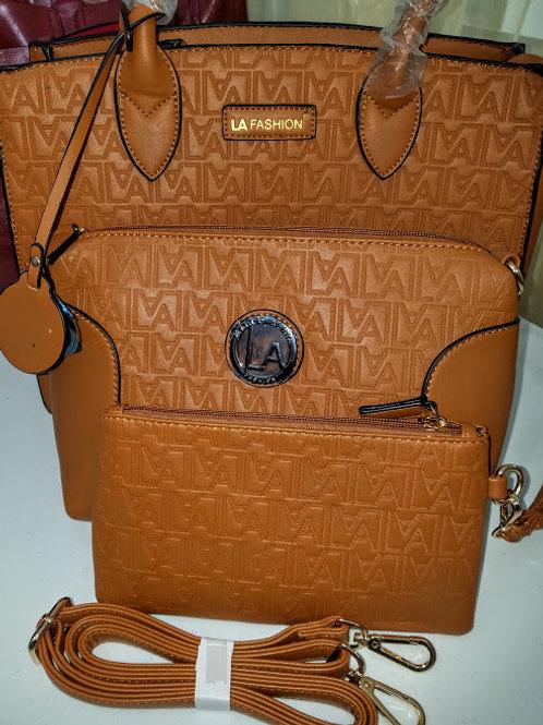 LA Fashion tan 3pc handbag set