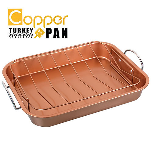 2-Piece Copper Turkey Roaster Pan Set