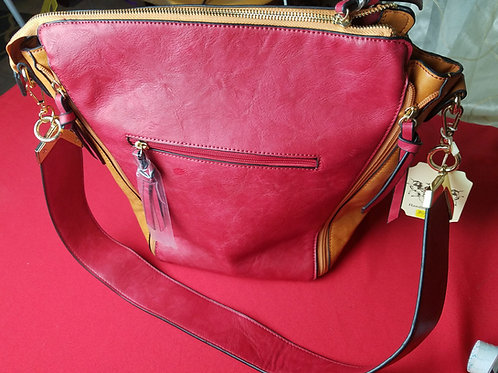 Red & Mustard Vegan Leather Handbag